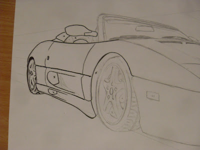 draw ferrari step by step inking