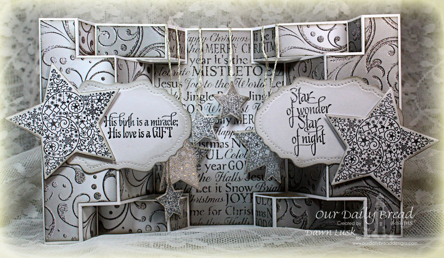 Stamps - Our Daily Bread Designs His Birth, ODBD Custom Sparkling Stars Dies, ODBD Winter Paper Collection 2014, ODBD Fancy Fold - Double Display, ODBD Custom Vintage Flourish Pattern Die