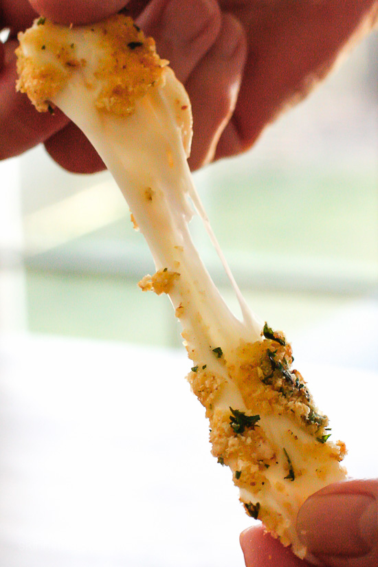 Skinny Baked Mozzarella Sticks – Made lighter with part-skim mozzarella then coated with crispy seasoned breadcrumbs and baked (not fried!) until hot and golden. Weight Watchers Smart Points: 3  Calories: 87