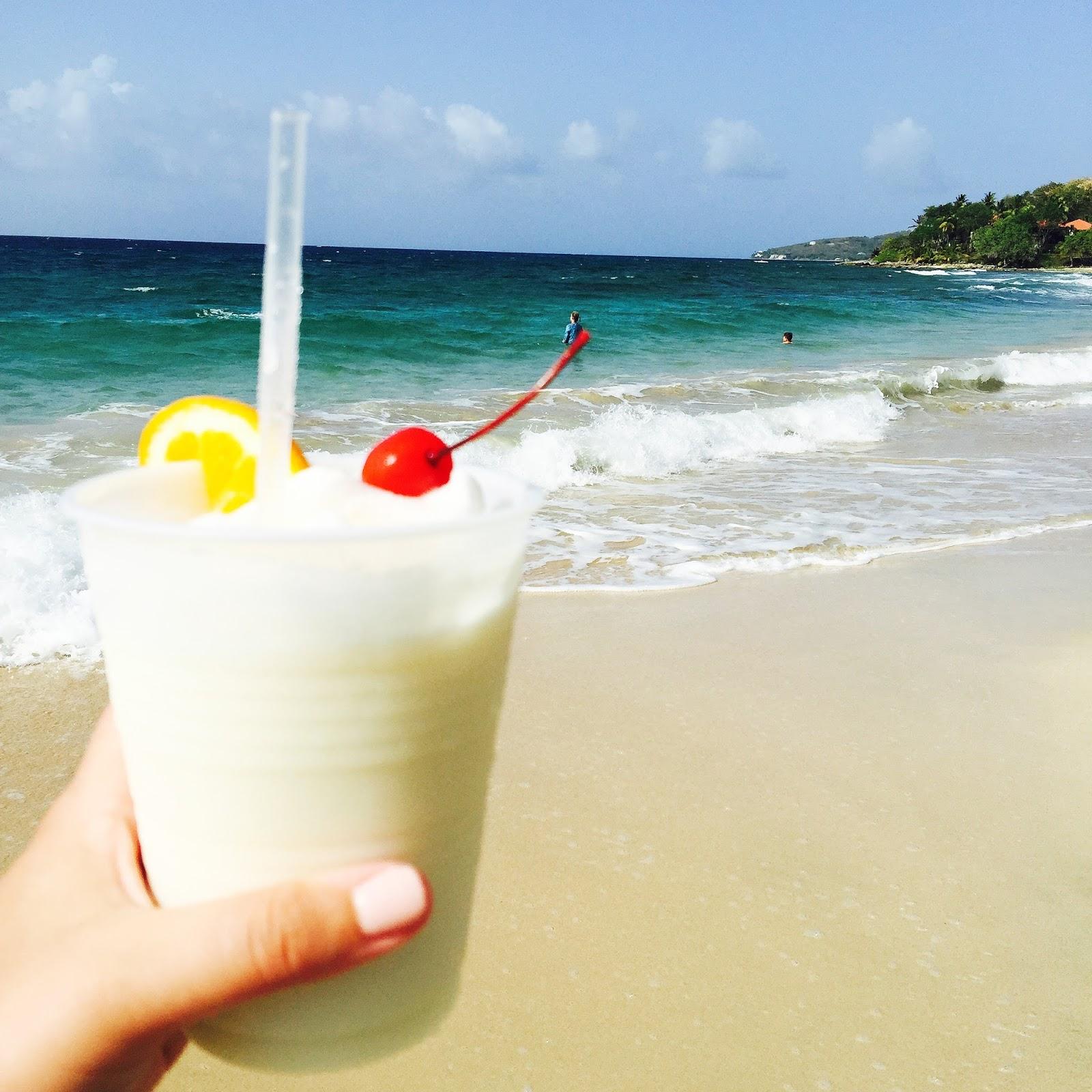 pina colada on the beach