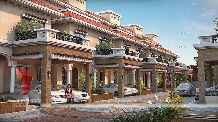 We 3d power do township 3d rendering contemporary for Indian villa designs exterior photos