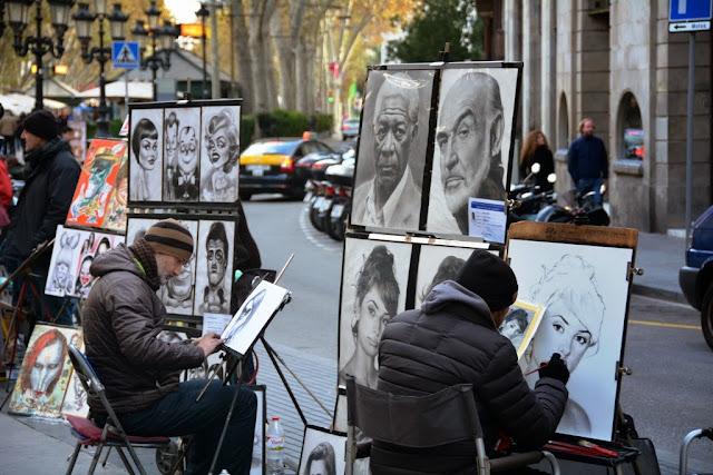 La Rambla Barcelona Street drawing