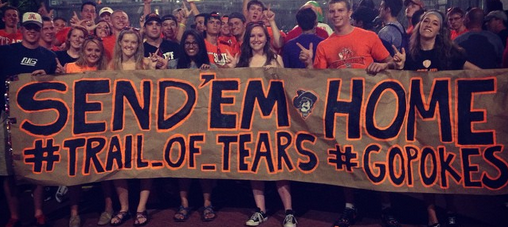 Oklahoma State fans bring anti-FSU Trail of Tears sign to ESPN College GameDay. (UPDATED)