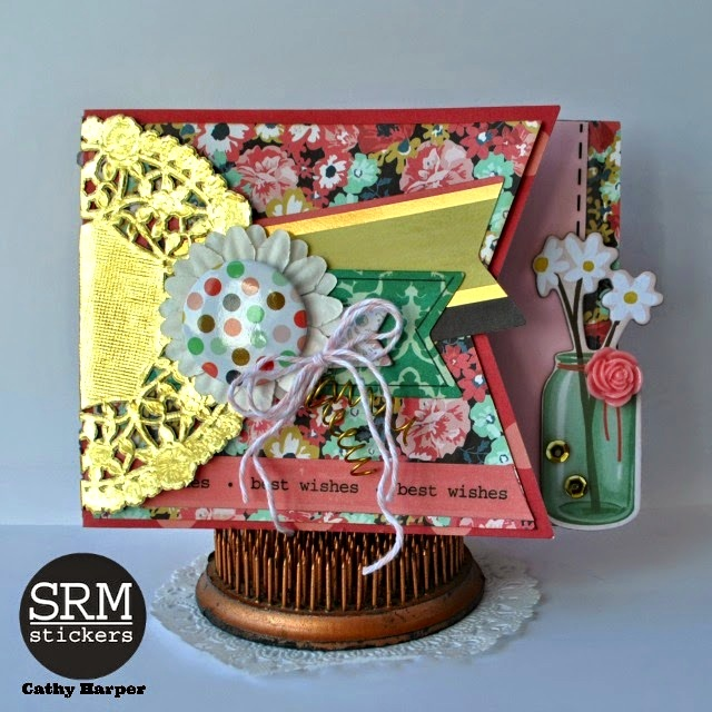 SRM Stickers Blog - The Gold Trend by Cathy H. - #card #gold #doilies #twine #stickers #srm