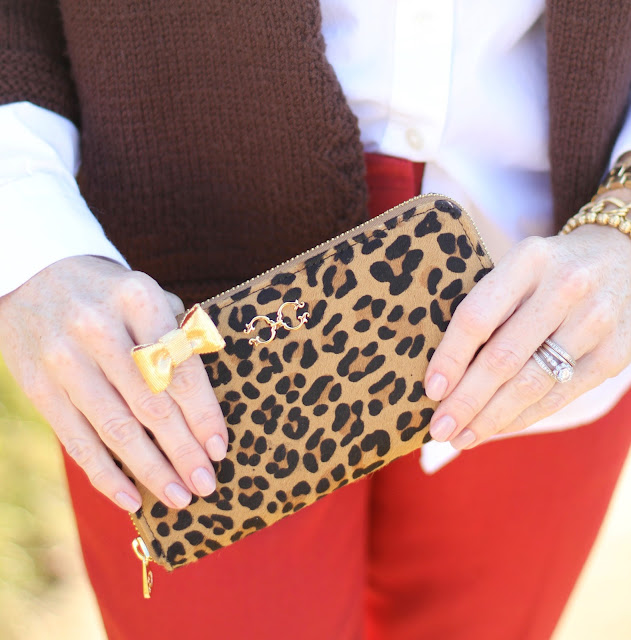 hand-made sweater, Boden, Loft, CWonder, Simply Lulu Design, Kate Spade, Prada, LosPhoto, chic mom, Simply Lulu Style, fashion blog, red pant, leopard print, bow ring,
