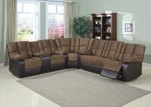 3pc Modern Transitional Recliner Corner Sofas Fabric