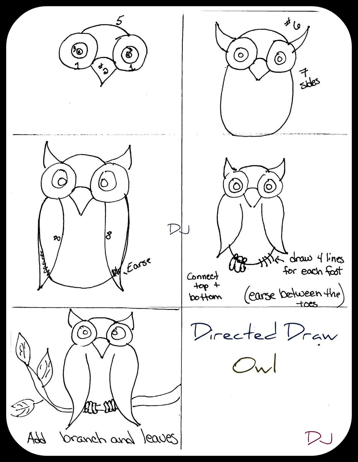 How to draw owl for kids for Steps to draw an owl