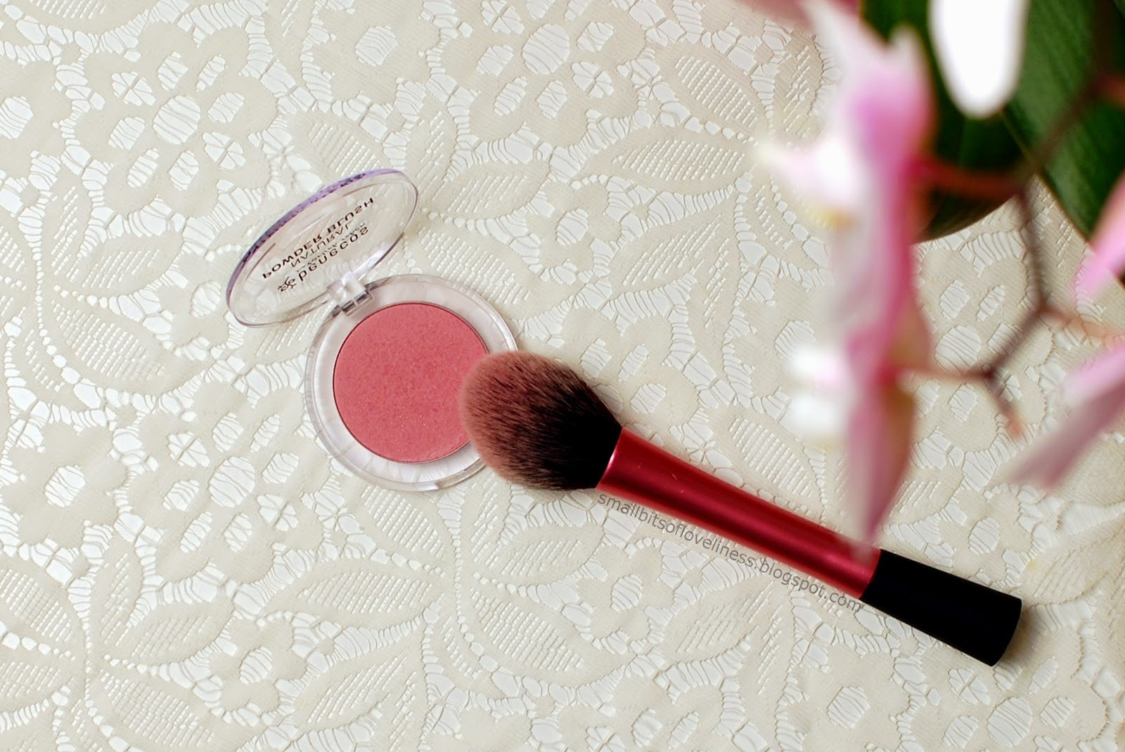 Benecos Natural Powder Blush Mallow Rose, Real Techniques Blush Brush