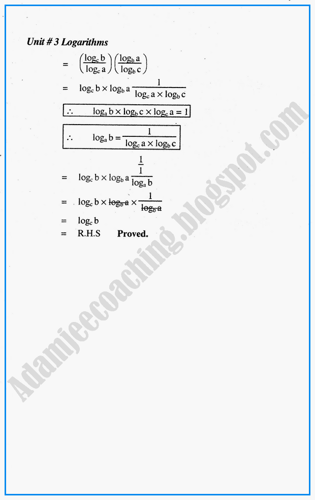 exercise-33-logarithms-mathematics-notes-for-class-10th