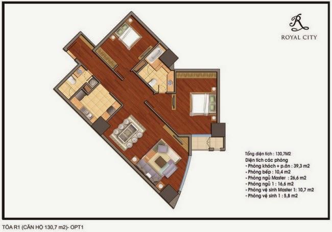 mặt bằng căn hộ 130.7m2 tòa R1 chung cư Royal City