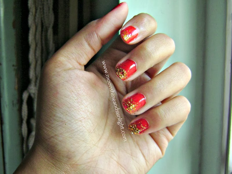 Day 7 Red and golden glitter nail art