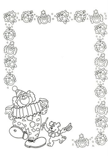 Manualidades para niños: Borde de payasos para colorear