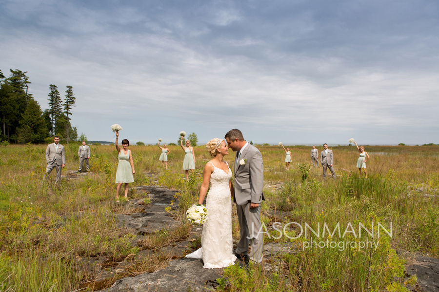 Door County Wedding: bridal party in gray and teal. Photo by Jason Mann Photography, 920-246-8106, www.jmannphoto.com