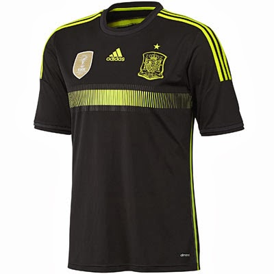segunda camiseta selección española Mundial 2014 negra