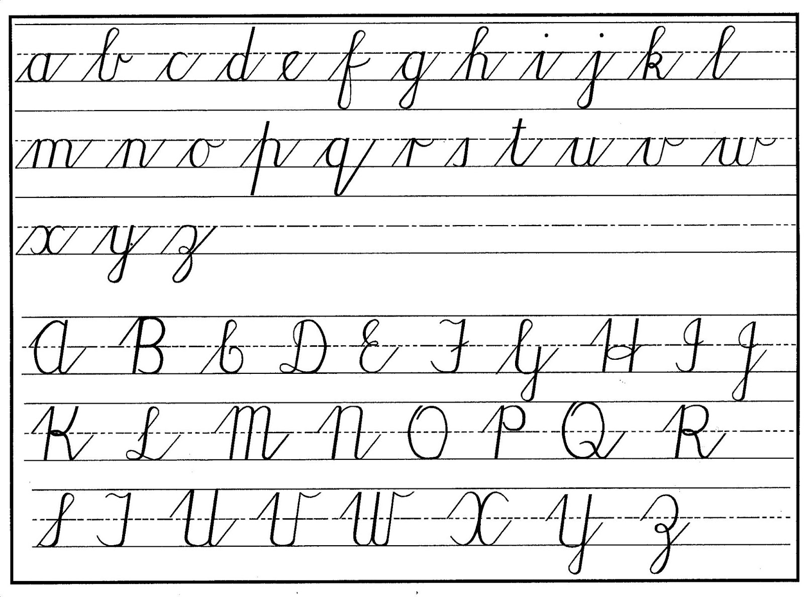 cursive writing alphabets