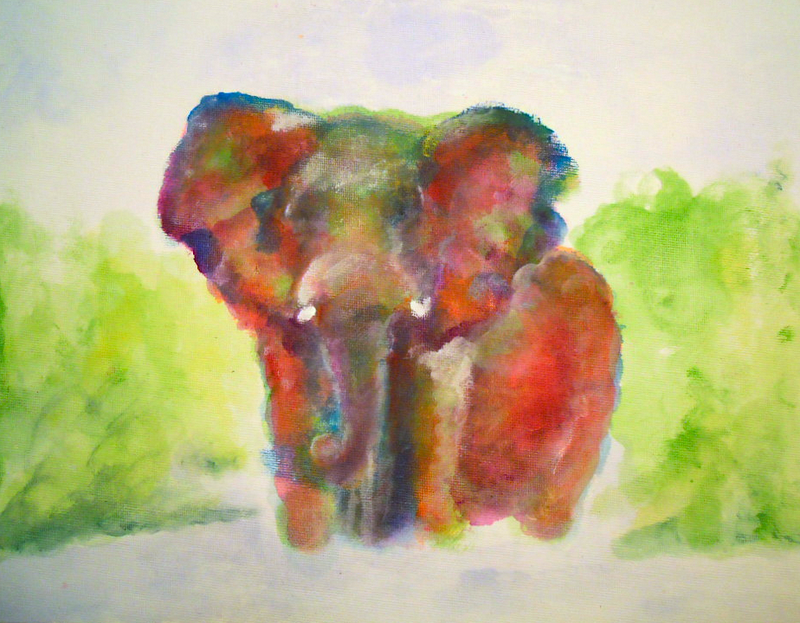 An elephant a day elephant no 328 scumbling for Different painting techniques