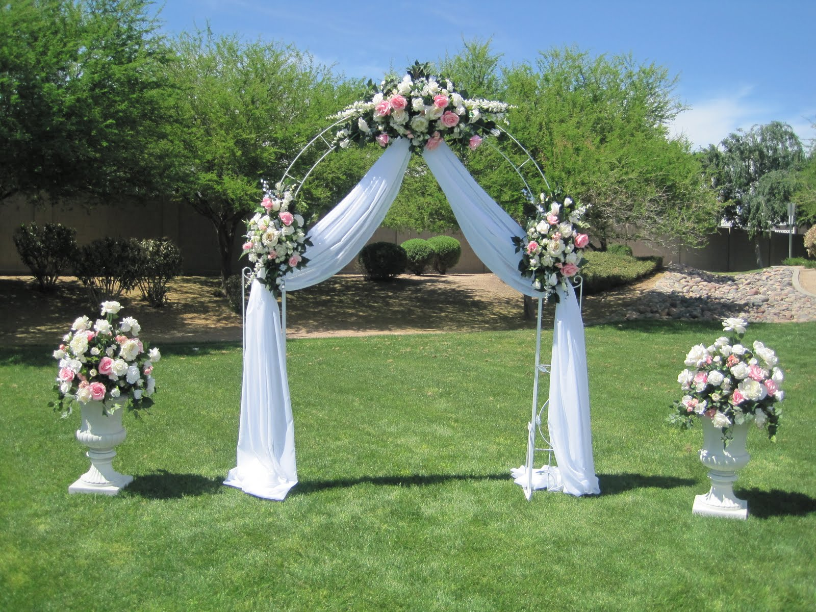 Simply in love wedding arches draping and peaches for Arch wedding decoration ideas