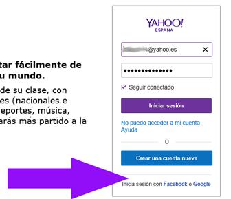 Iniciar sesion en Yahoo Mail con Facebook