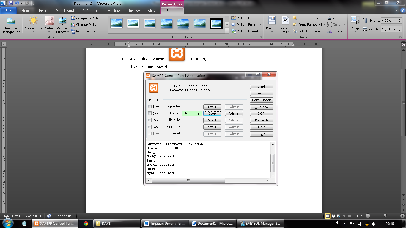 how to create mysql database in xampp
