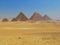 All 3 Great Pyramids of Giza (back tier): left to right, Mnkawiza, Khafra, and Khufu.