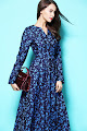 New 2016 Long Sleeve Light Blue Floral Dark Blue Flare Maxi