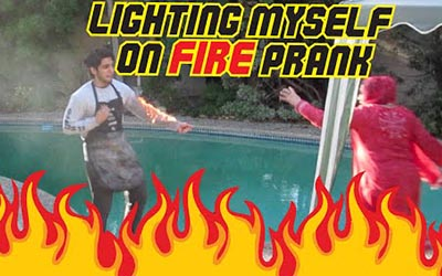 LIGHTING MYSELF ON FIRE PRANK