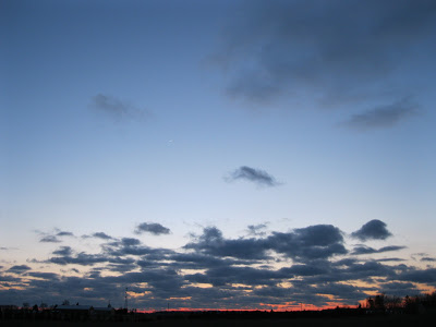sky facing west at sunset