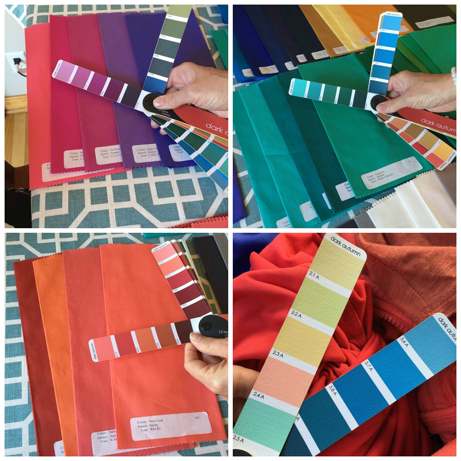 in these pictures im comparing the generic deep autumn swatch book that i purchased from true color online to some of the color swatches that joanne - True Colors Book