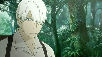 A screencap showing off Ginko in the forest with his perpetual cigarette.