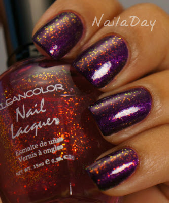NailaDay: I.C.E. It Purple with Kleancolor Chunky Holo Fuschia