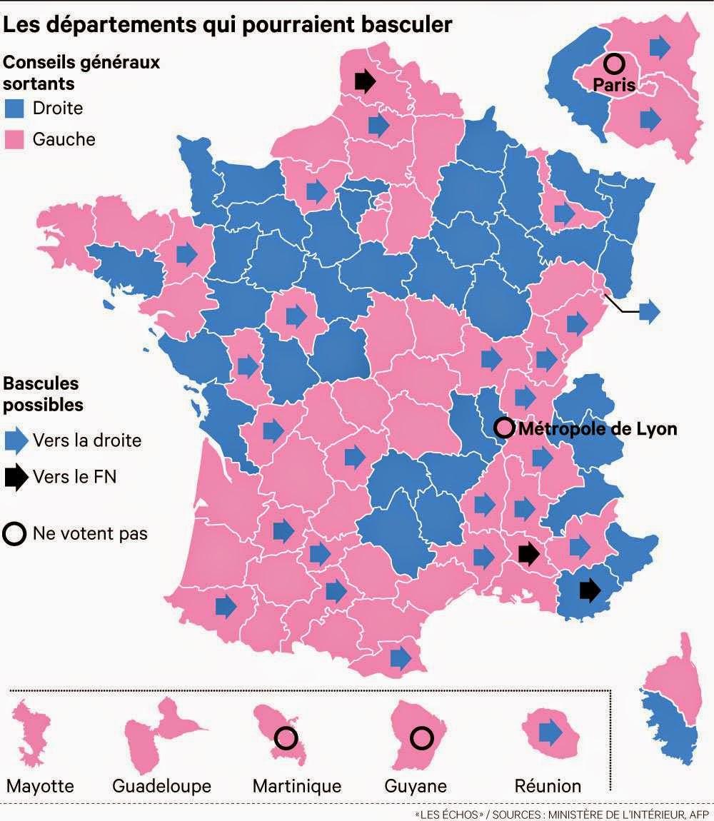 Résultats des départementales 2015: la carte département par département
