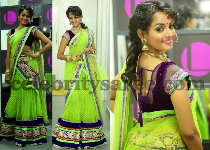 Sujaritha Light Green Half Saree