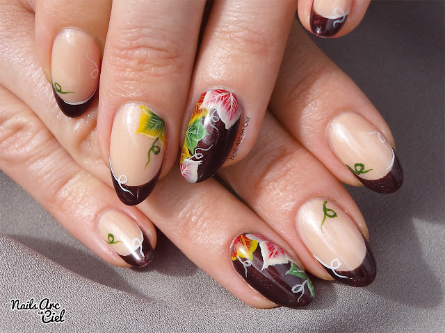 Nail art - Feuilles d'automne en One stroke et french dramatique par Nails Arc en Ciel