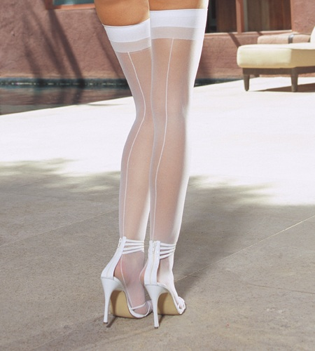 Sheer Thigh High Hold Ups with Backseam