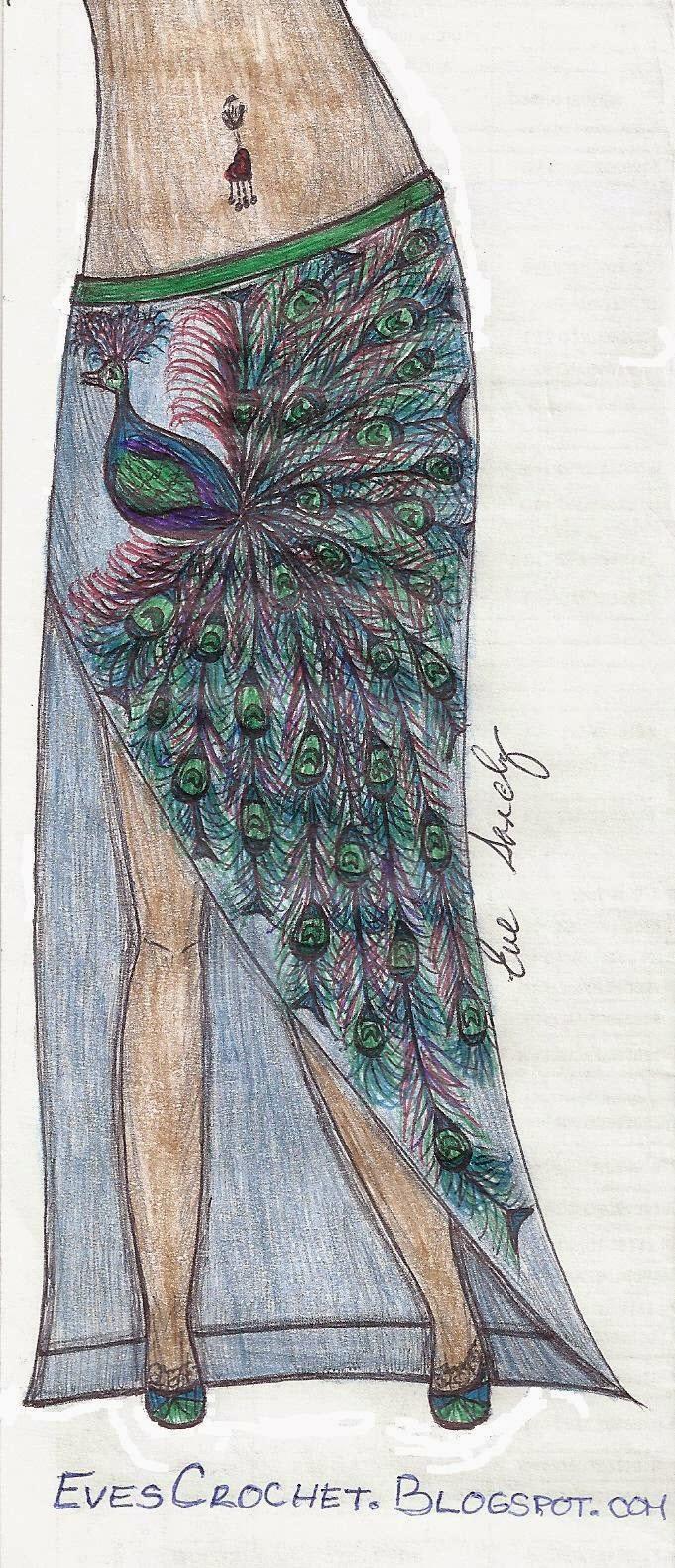 Peacock Skirt Fashion Illustration