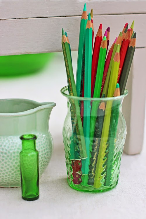 Green Colouring Pencils