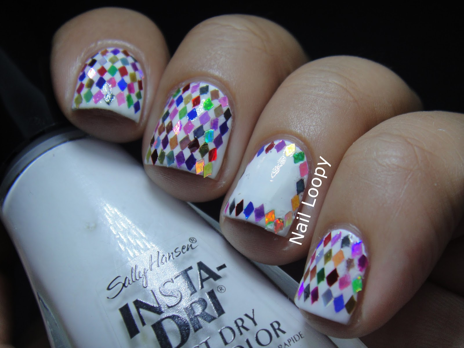 nail loopy: RAINBOW DIAMOND GLITTER PLACEMENT NAILS