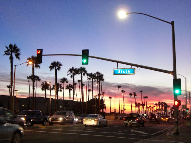 Sunset in Huntington Beach Traffic lights