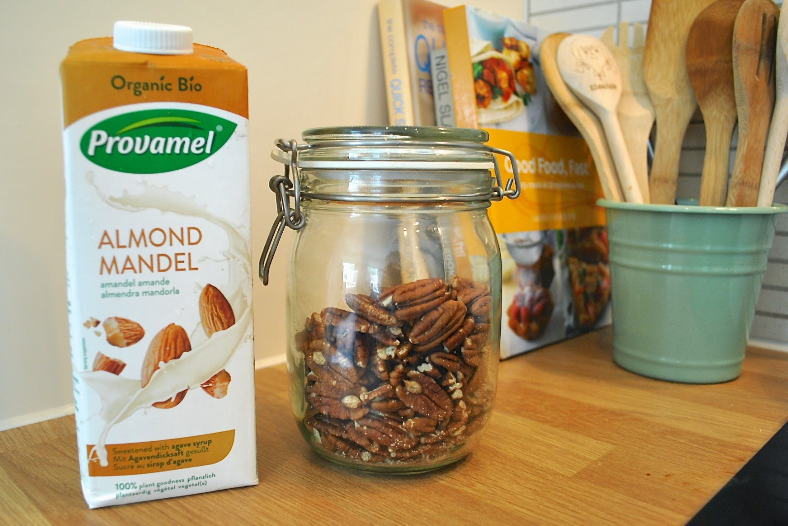 Pecans and almond milk