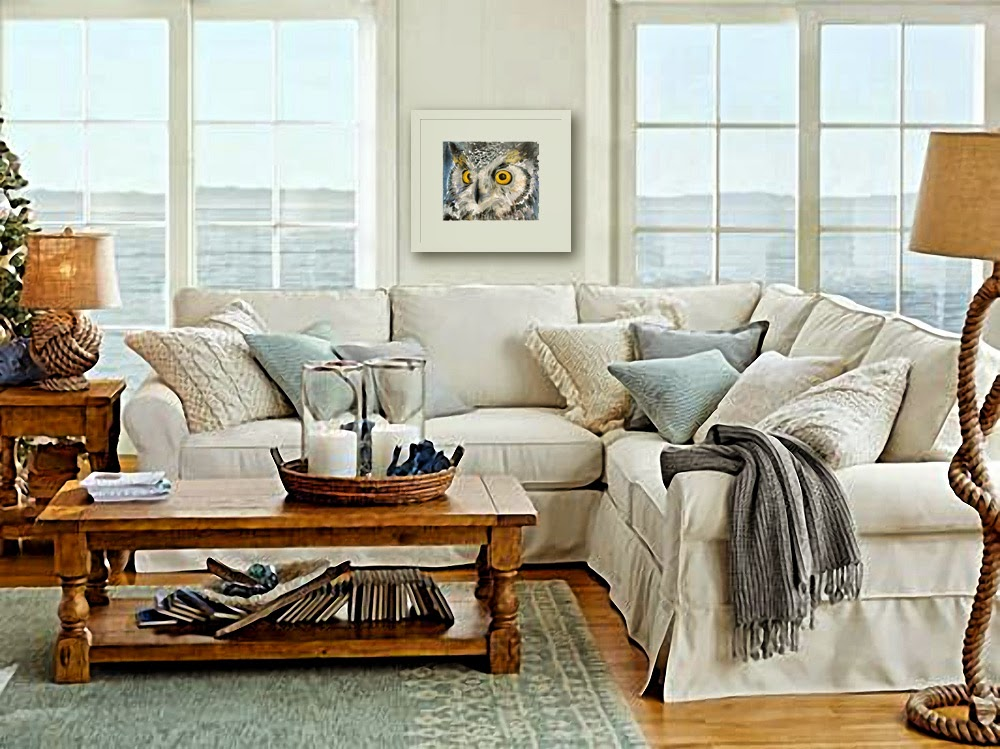 Art blog for the inspiration place how a frame transforms for Pottery barn living room ideas
