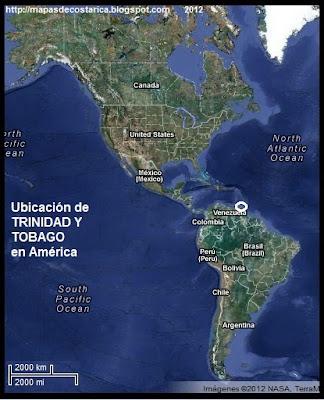 América. Ubicación de TRINIDAD Y TOBAGO en América, Vista Satelital