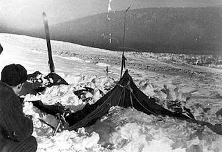 The hikers' damaged tent at Dyatlov's Pass.
