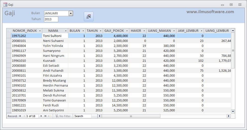 Ilmu Software: Rancangan User Interface Aplikasi Payroll ...
