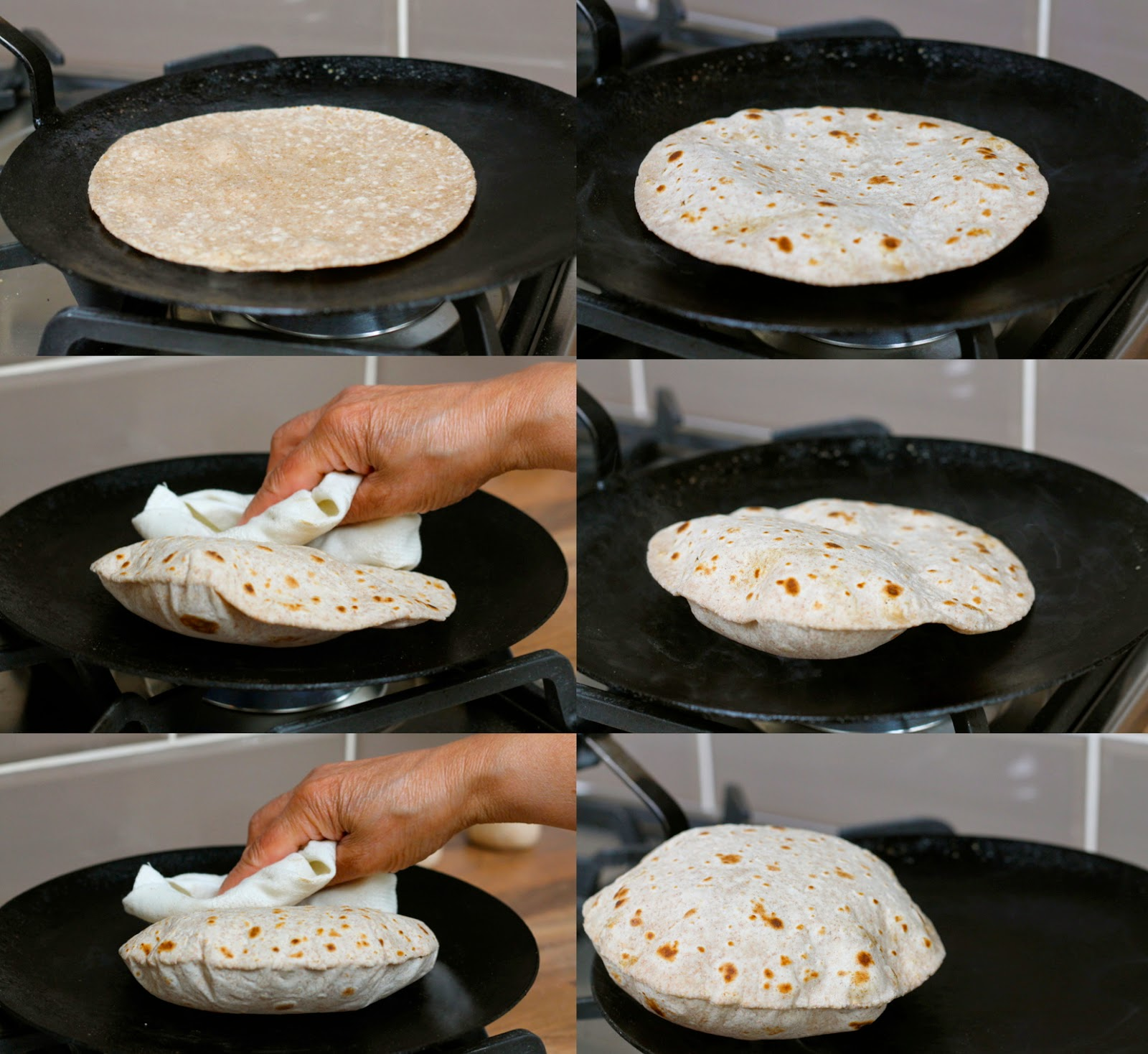 Cooking a roti on a tava