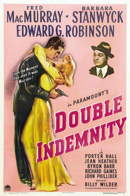 Film Poster Double Indemnity 1944 movieloversreviews.blogspot.com