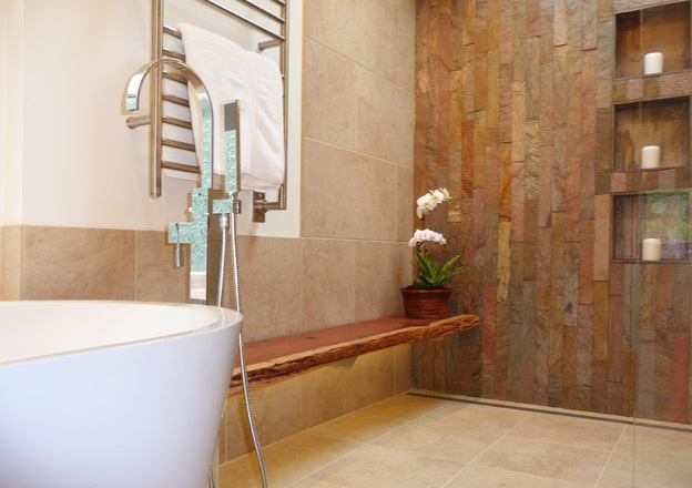 awesome wall mounted wooden bathroom benches in the big natural and calm bathroom design