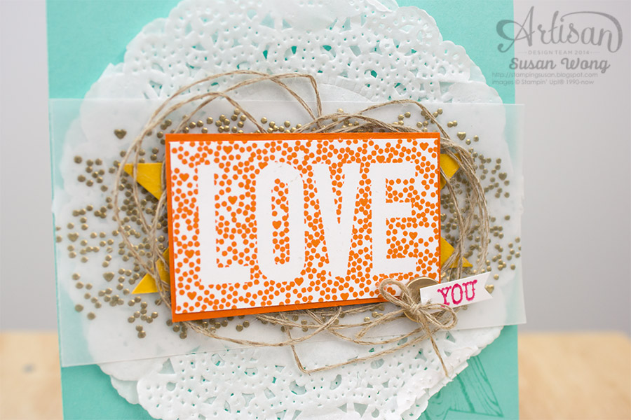 Seasonally Scattered 'Love You' card detail ~ Susan Wong