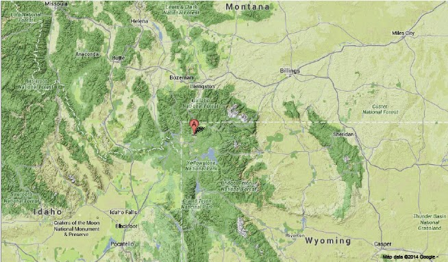 Sciency thoughts magnitude 34 earthquake in the yellowstone the approximate location of the 4 june 2014 yellowstone park earthquake google maps sciox Image collections