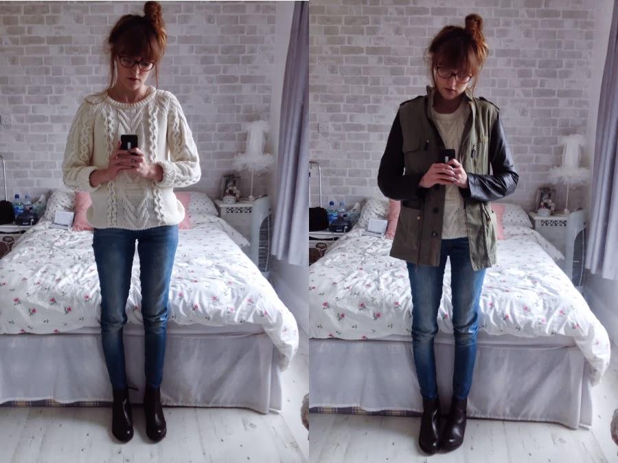 Monki knit, Zara jeans, Zara leather sleeved parka, ASOS ALFASA Boots