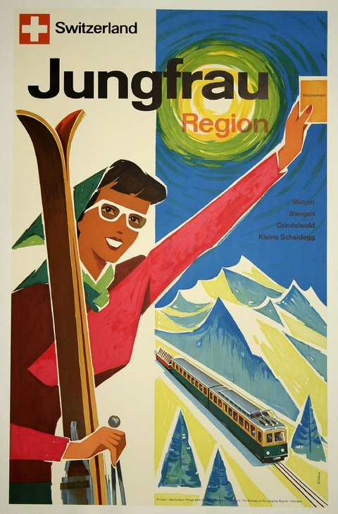 classic posters, free download, graphic design, retro prints, travel, travel posters, vintage, vintage posters, skiing, sports, Switzerland Jungfrau Region, Skiing - Vintage Travel Sports Poster